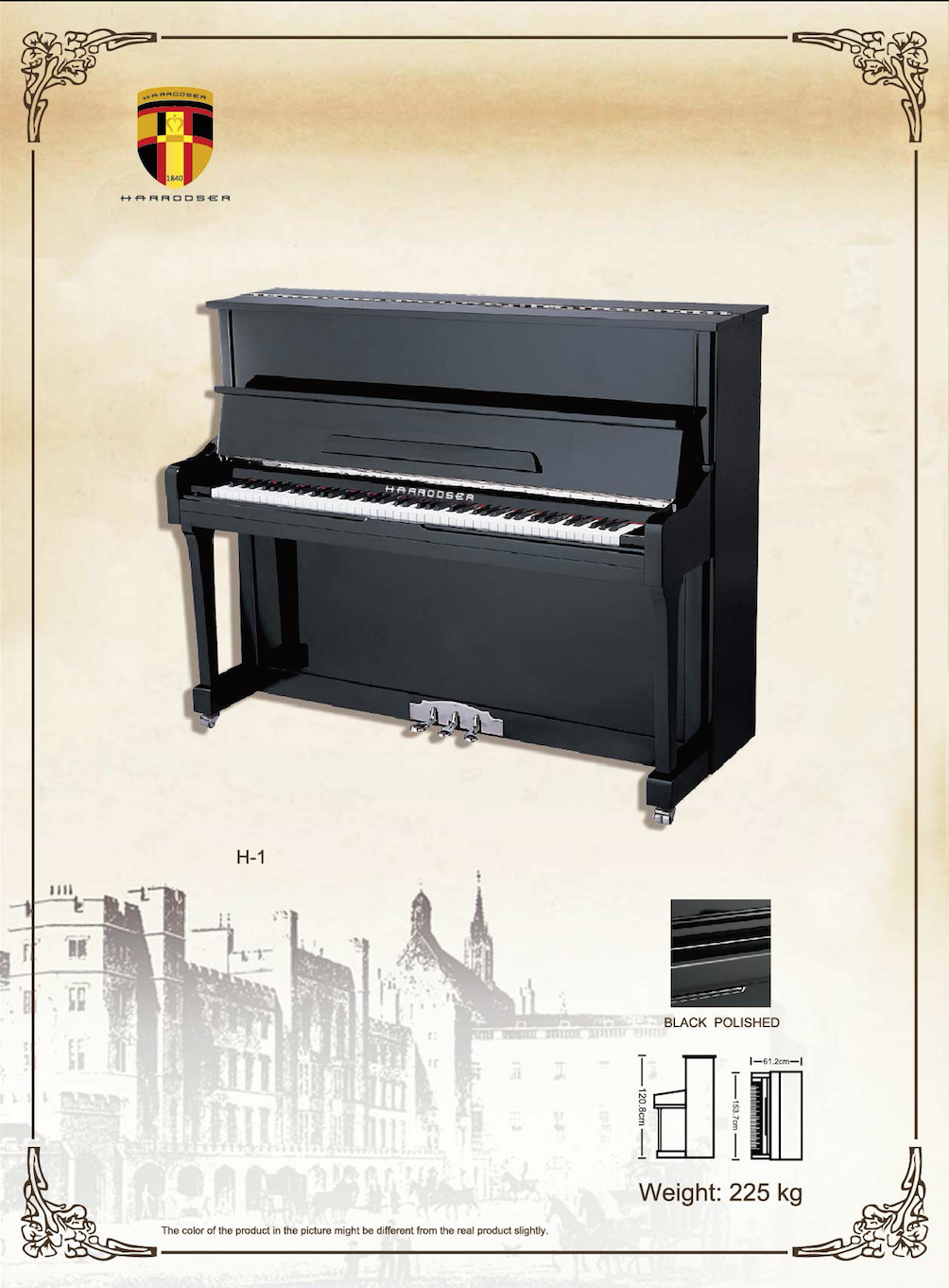 เปียโน Upright Piano Harrodser H-1 BLACK Spec