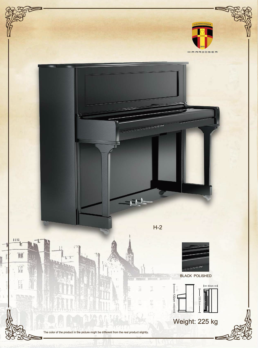 เปียโน Upright Piano Harrodser H-2 BLACK Spec