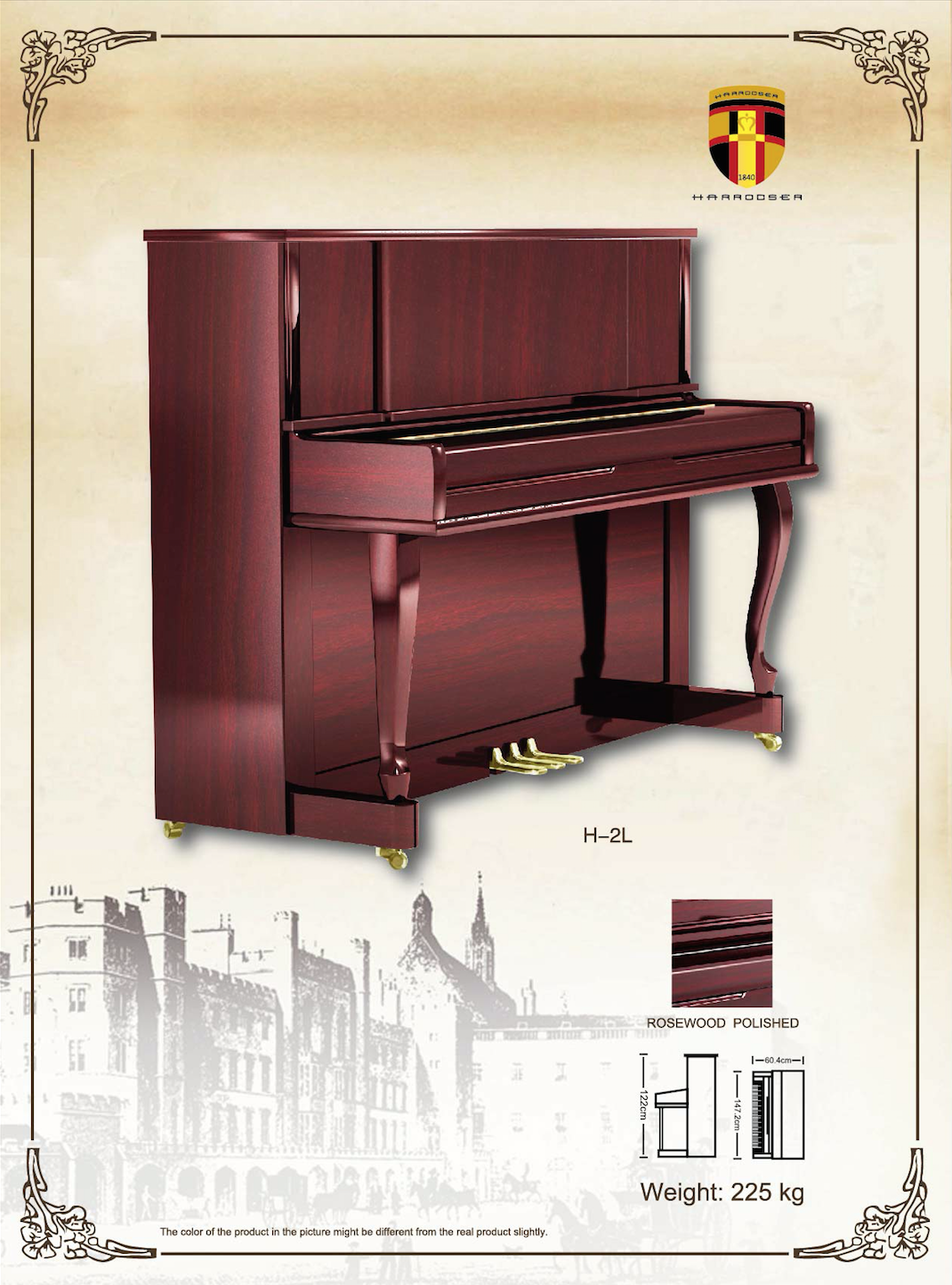 เปียโน Upright Piano Harrodser H-2L Spec