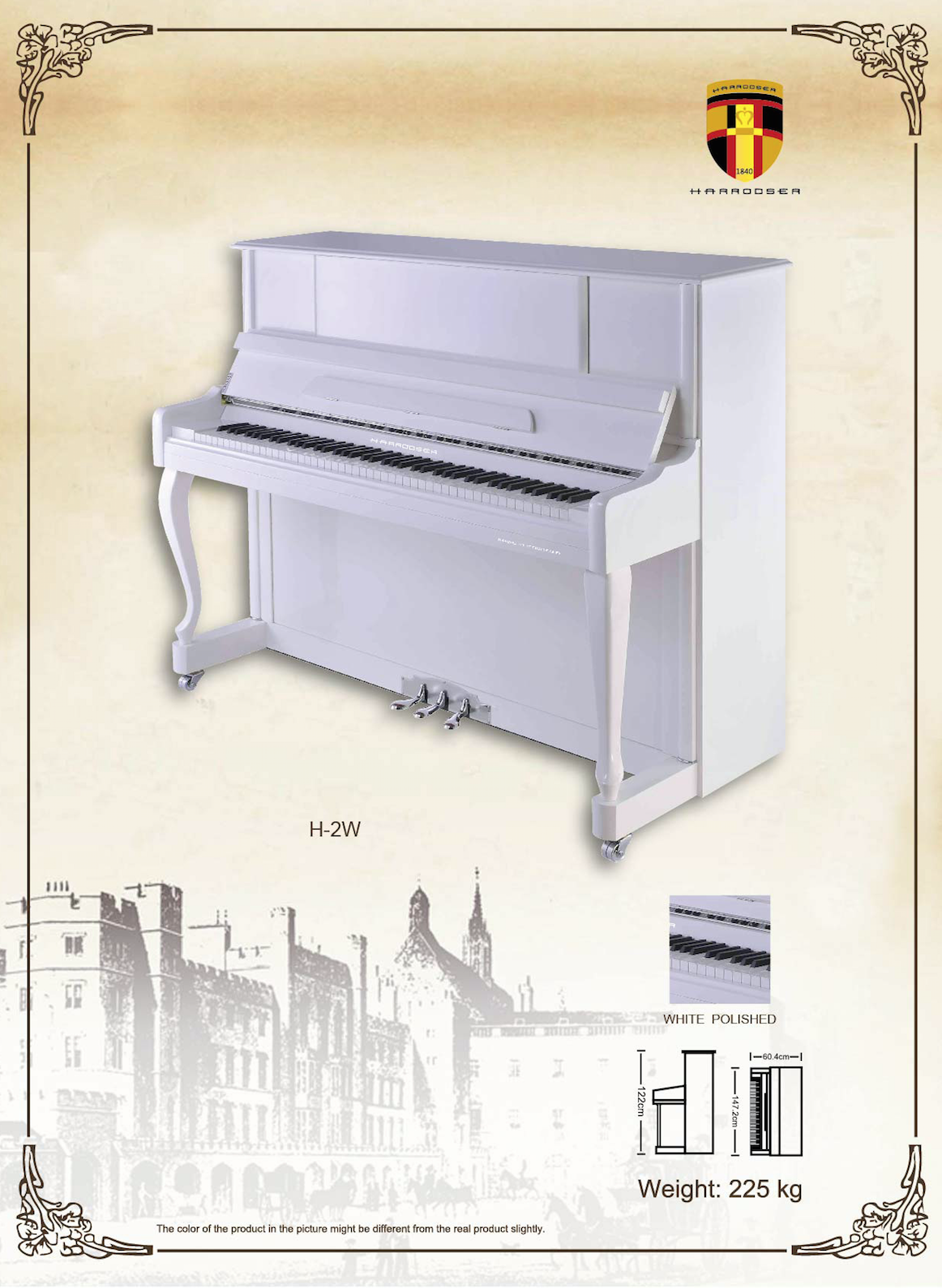 เปียโน Upright Piano Harrodser H-2W Spec